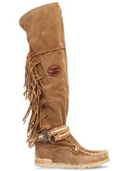 El Vaquero 70Mm Delilah Fringed Suede Wedge Boots Sand