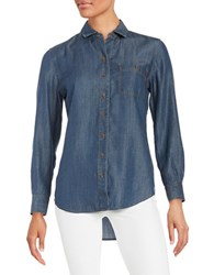 Lord And Taylor Roll Tab Button Shirt Dark Wash