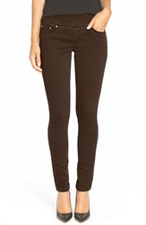 Petite Women's Jag Jeans 'Nora' Knit Denim Pull On Skinny Jeans Brown