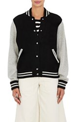 Marc Jacobs Women's Stockinette Stitched Wool Cashmere Varsity Jacket Black Grey No Color Black Grey No Color