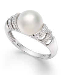 Macy's Sterling Silver Ring Cultured Freshwater Pearl 9Mm And Diamond Accent Ring Black