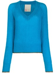 Marco De Vincenzo V Neck Sweater Blue