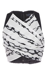 Proenza Schouler Sleeveless Pleated Crop Top Print
