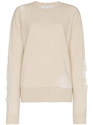 Helmut Lang Distressed Wool Blend Sweater Nude And Neutrals