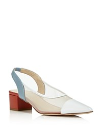 Creatures Of Comfort Women's Gloria Leather And Mesh Color Block Slingback Pumps White