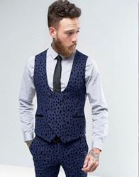 Noose And Monkey Super Skinny Waistcoat With Leopard Flocking Blue