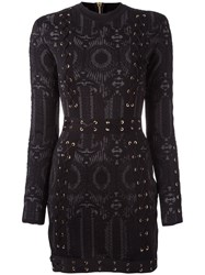 Balmain Lace Up Detailing Fitted Dress Black