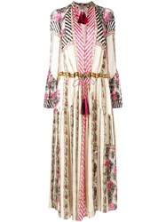Etro Tassel Detailed Boho Dress Women Silk Cotton Viscose 44 White