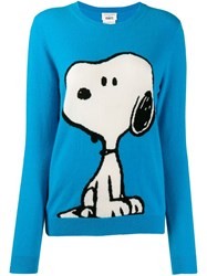 Chinti And Parker Snoopy Print Jumper Blue