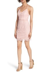 Soprano Lattice Lace Body Con Dress Pink Silver