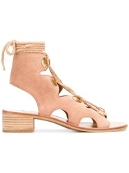 See By Chloe Cut Out Laced Sandals Nude Neutrals
