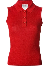 Chanel Vintage Sleeveless Polo Shirt Red