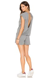 Bobi Supreme Jersey Short Sleeve Open Back Romper Gray