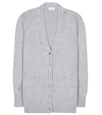 Saint Laurent Cashmere Knitted Cardigan Grey