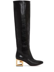 Givenchy 60Mm Leather Boots W Triangle Logo Heel Black