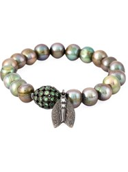 Loree Rodkin Pearl Diamond Winged Insect Charm Bracelet Metallic