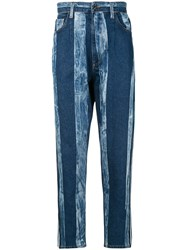 Dolce And Gabbana Striped Washed Effect Jeans Blue