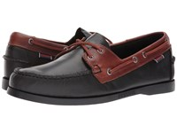 Sebago Spinnaker Black Brown Oiled Waxy Men's Lace Up Moc Toe Shoes