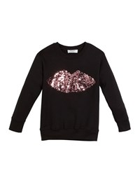 Milly Minis Sweatshirt W Moveable Sequin Lips Size 4 7 Black