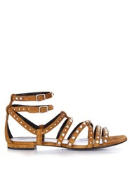 Saint Laurent Stud Embellished Suede Gladiator Sandals Tan