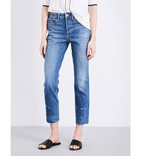 Helmut Lang Straight Cropped High Rise Jeans Light Blue