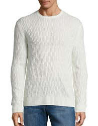 Black Brown Cable Knit Wool Blend Sweater Bone White