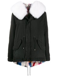 Mr And Mrs Italy Fox Fur Hooded Jacket Black