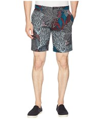 Perry Ellis Coral Print Stretch Shorts Blue Coral