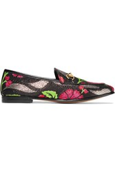 Gucci Jordaan Leather Trimmed Metallic Floral Brocade Loafers Black