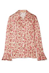 Michael Kors Collection Ruffled Floral Print Silk Jacquard Shirt Blush