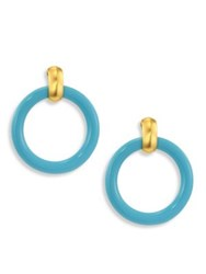 Kenneth Jay Lane Large Clip On Hoop Earrings 3 Turquoise