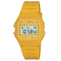 Casio Unisex Core Digital Chronograph Rectangular Dial Rubber Strap Watch Yellow