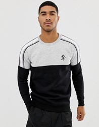 Gym King Muscle Crew Neck Sweat With Cut And Sew In Grey Marl