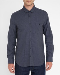 M.Studio Charcoal Norman Thick Twill Two Tone Brushed Cotton Slim Fit Shirt