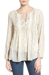Lucky Brand Women's Lace Up Metallic Top