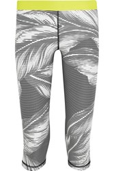 The Upside Valley Palms Cropped Printed Stretch Jersey Leggings Ivory