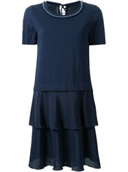 Muveil Embellished Collar Ruffle Dress Blue