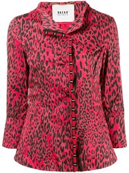 Bazar Deluxe Leopard Pattern Fitted Jacket Red