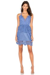 Self Portrait Lace Peplum Dress Blue