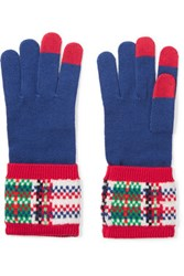Marc By Marc Jacobs Percy Intarsia Knit Merino Wool Gloves Blue