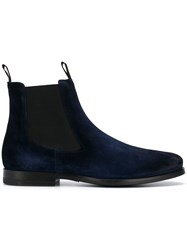 Santoni Suede Pull On Boots Blue