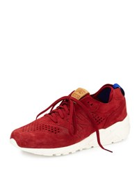 New Balance Men's 580 Deconstructed Suede Low Top Sneaker Red Blue