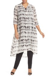 Plus Size Women's Nic Zoe 'Elephant March' Print Band Collar Long Tunic