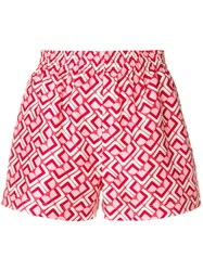La Doublej Print Fitted Shorts Red