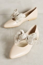 Anthropologie Kmb Frayed Bow Flats Neutral