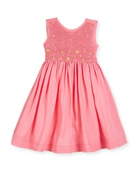 Luli And Me Sleeveless Embroidered Smocked Sundress Pink