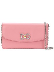 Dolce And Gabbana Crystal Embellished Chain Wallet Pink And Purple