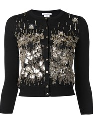 Oscar De La Renta Sequin Embroidered Cardigan Black