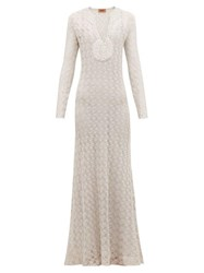 Missoni V Neck Lurex Knit Dress Silver