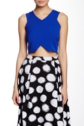 Blvd Sleeveless V Neck Cropped Tee Blue